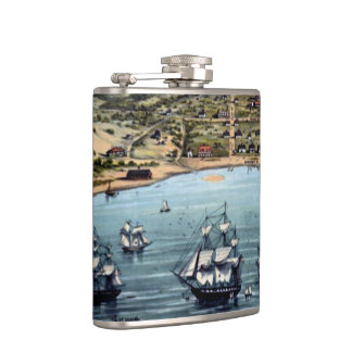 Vintage San Francisco Bay With Sailling Ships Flasks