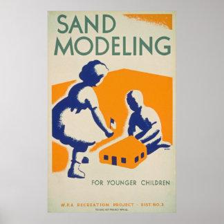 Vintage Sand Modeling Poster