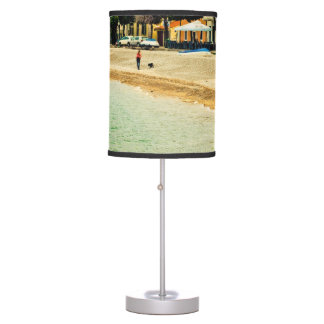 Vintage sandy seashore city sea houses and trees table lamp