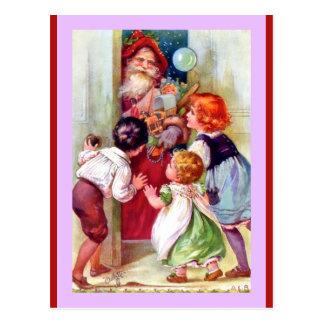 Vintage Santa and Children (a Tuck Oilette copy) Postcard