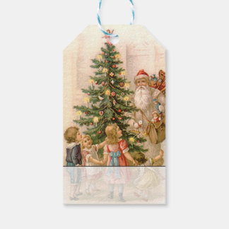 Vintage Santa and Children Around Christmas Tree Gift Tags