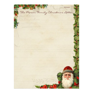 Vintage Santa and Holly Berry Christmas Letter Personalized Letterhead
