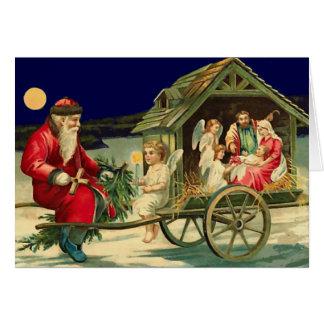 Vintage Santa and nativity scene Card
