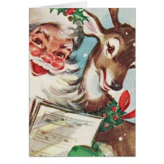 Vintage Santa and Reindeer Card