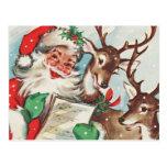 Vintage Santa and Reindeer Postcard