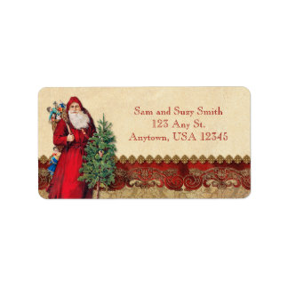 Vintage Santa and Tree Label