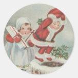 Vintage Santa Children Classic Round Sticker