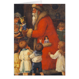 Vintage Santa Children & Toys Christmas Card