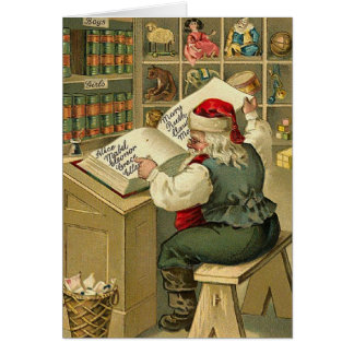 Vintage Santa Christmas List Note Card