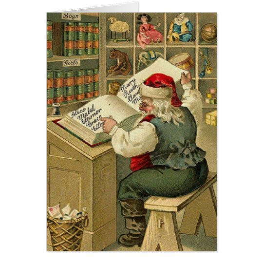 Vintage Santa Christmas List Note Card