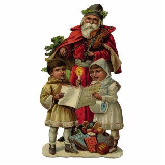 Vintage Santa Christmas Music Standing Photo Sculpture