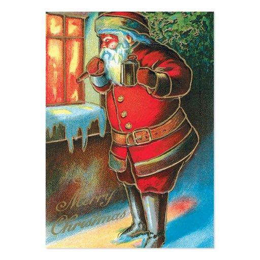 Vintage Santa Christmas Name Tags Business Cards
