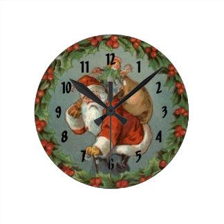 Vintage Santa Christmas Numbered  Wall Clock
