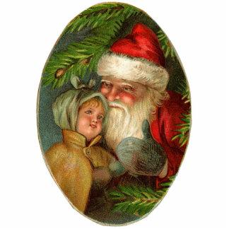 Vintage Santa Christmas Ornament Photo Sculpture Ornament