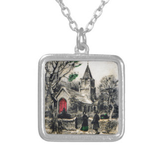 vintage-santa-christmas-post-cards-0005 silver plated necklace