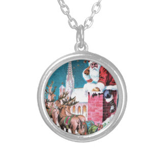 vintage-santa-christmas-post-cards-0011 silver plated necklace