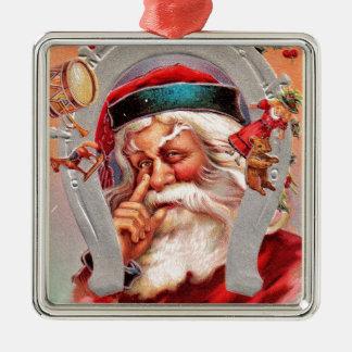 vintage-santa-christmas-post-cards-0017 metal ornament