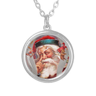 vintage-santa-christmas-post-cards-0017 silver plated necklace