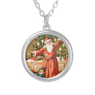 vintage-santa-christmas-post-cards-0018 silver plated necklace