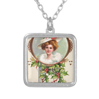 vintage-santa-christmas-post-cards-0019 silver plated necklace