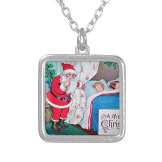 vintage-santa-christmas-post-cards-0026 silver plated necklace