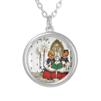 vintage-santa-christmas-post-cards-0029 silver plated necklace
