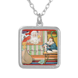vintage-santa-christmas-post-cards-0042 silver plated necklace