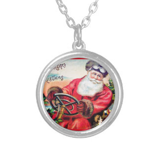 vintage-santa-christmas-post-cards-0125 silver plated necklace