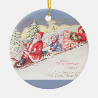 vintage-santa-christmas-post-cards-0390 ceramic ornament