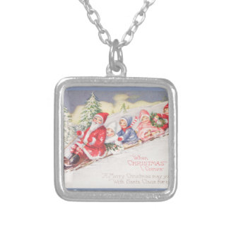 vintage-santa-christmas-post-cards-0390 silver plated necklace
