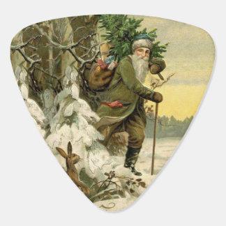 Vintage Santa Christmas Tree Victorian Guitar Pick