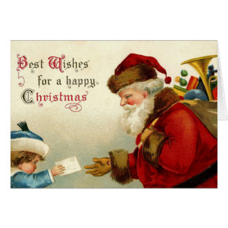Vintage Santa Christmas Wishes Card