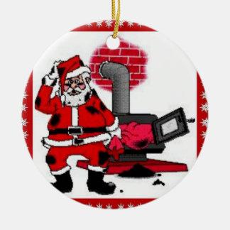 Vintage Santa Claus & a Coal Stove Burner Ornament