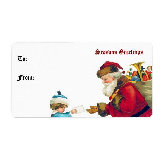 Vintage Santa Claus and Child Gift Tag Shipping Label