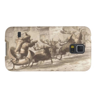 Vintage Santa Claus and Reindeer Illustration Galaxy S5 Case