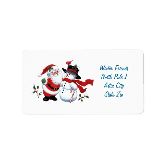 Vintage Santa Claus and Snowman Label