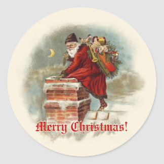 Vintage Santa Claus at the Chimney Christmas Round Sticker