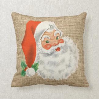 Vintage Santa Claus Christmas Faux Burlap Throw Pillow
