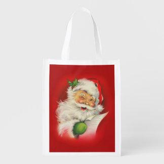 Vintage Santa Claus Christmas Grocery Bags