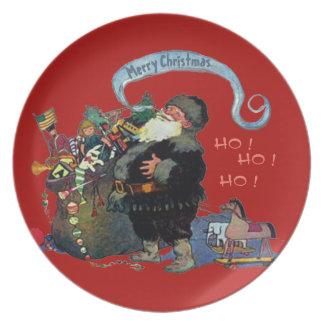 VINTAGE SANTA CLAUS CHRISTMAS ILLUSTRATION PLATE
