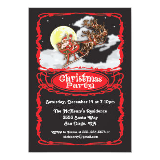Vintage Santa Claus Christmas Party Invitaions Card
