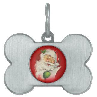 Vintage Santa Claus Christmas Pet ID Tag