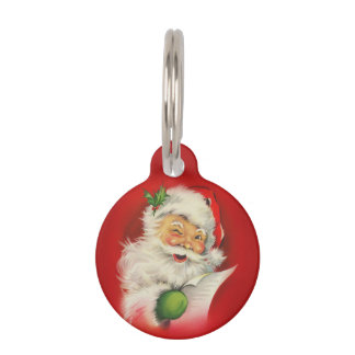 Vintage Santa Claus Christmas Pet Name Tag