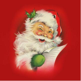 Vintage Santa Claus Christmas Photo Sculpture Button