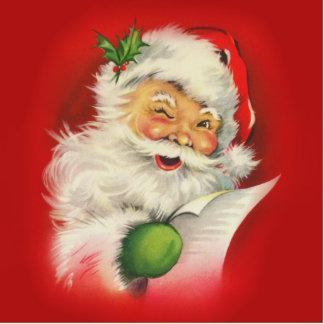 Vintage Santa Claus Christmas Photo Sculpture Ornament