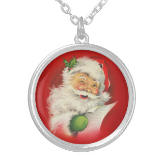 Vintage Santa Claus Christmas Silver Plated Necklace