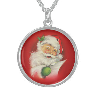 Vintage Santa Claus Christmas Sterling Silver Necklace