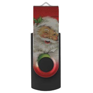 Vintage Santa Claus Christmas Swivel USB 3.0 Flash Drive