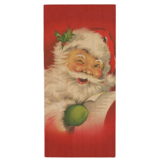 Vintage Santa Claus Christmas Wood USB 2.0 Flash Drive