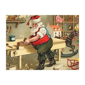 Vintage Santa Claus Christmas Workshop Canvas Print